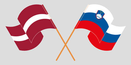 Crossed and waving flags of Slovenia and Latvia. Vector illustration Vektoros illusztráció
