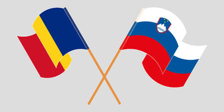Crossed and waving flags of Slovenia and Romania. Vector illustration