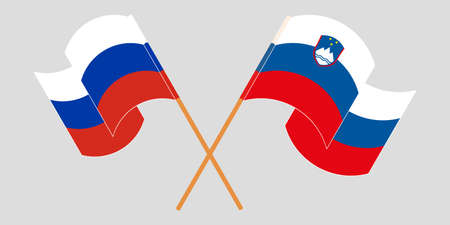 Crossed and waving flags of Slovenia and Russia. Vector illustration