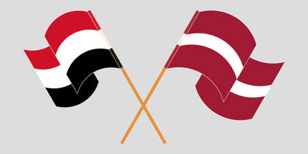 Crossed and waving flags of Yemen and Latvia. Vector illustration