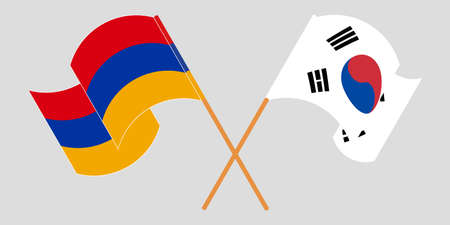 Crossed and waving flags of Armenia and South Korea. Vector illustration
