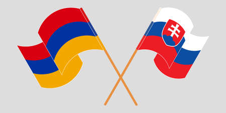 Crossed and waving flags of Armenia and Slovakia. Vector illustration