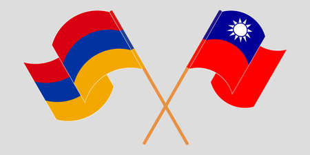 Crossed and waving flags of Armenia and Taiwan. Vector illustration