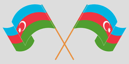 Crossed and waving flags of Azerbaijan. Vector illustration
