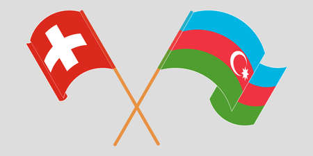 Crossed and waving flags of Azerbaijan and Switzerland. Vector illustration