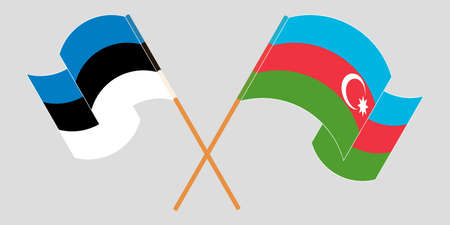 Crossed and waving flags of Azerbaijan and Estonia. Vector illustration