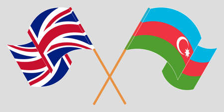 Crossed and waving flags of Azerbaijan and the UK. Vector illustration