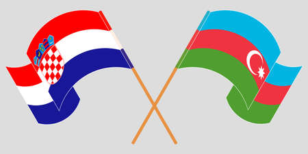 Crossed and waving flags of Azerbaijan and Croatia. Vector illustration