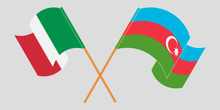 Crossed and waving flags of Azerbaijan and Italy. Vector illustration