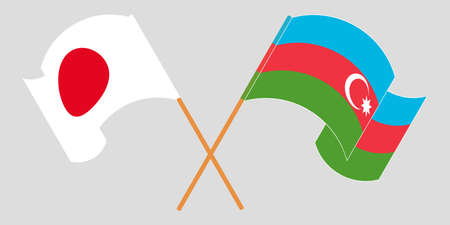 Crossed and waving flags of Azerbaijan and Japan. Vector illustration