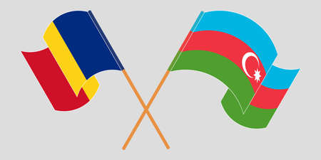 Crossed and waving flags of Azerbaijan and Romania. Vector illustration
