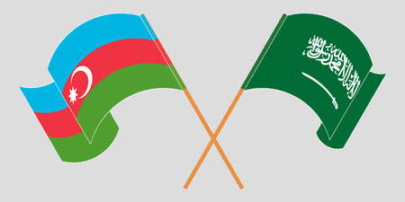 Crossed and waving flags of Azerbaijan and the Kingdom of Saudi Arabia. Vector illustration