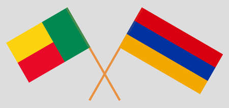 Crossed flags of Benin and Armenia. Official colors. Correct proportion. Vector illustration