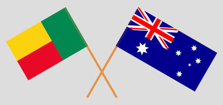 Crossed flags of Benin and Australia. Official colors. Correct proportion. Vector illustration