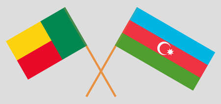 Crossed flags of Benin and Azerbaijan. Official colors. Correct proportion. Vector illustration 向量圖像