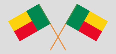 Crossed flags of Benin. Official colors. Correct proportion. Vector illustration