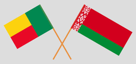 Crossed flags of Benin and Belarus. Official colors. Correct proportion. Vector illustration 向量圖像