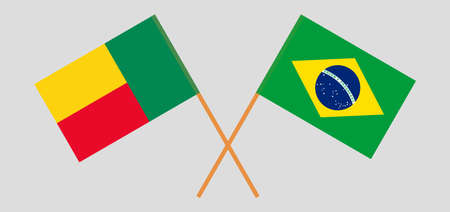 Crossed flags of Benin and Brazil. Official colors. Correct proportion. Vector illustration
