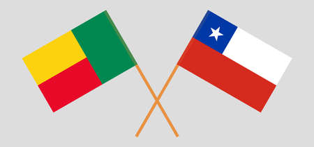 Crossed flags of Benin and Chile. Official colors. Correct proportion. Vector illustration