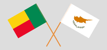 Crossed flags of Benin and Cyprus. Official colors. Correct proportion. Vector illustration
