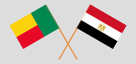 Crossed flags of Benin and Egypt. Official colors. Correct proportion. Vector illustration
