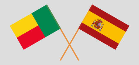 Crossed flags of Benin and Spain. Official colors. Correct proportion. Vector illustration