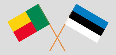 Crossed flags of Benin and Estonia. Official colors. Correct proportion. Vector illustration