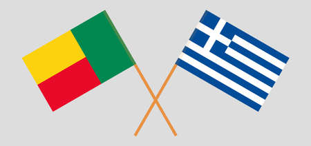 Crossed flags of Benin and Greece. Official colors. Correct proportion. Vector illustration