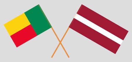 Crossed flags of Benin and Latvia. Official colors. Correct proportion. Vector illustration Vektoros illusztráció