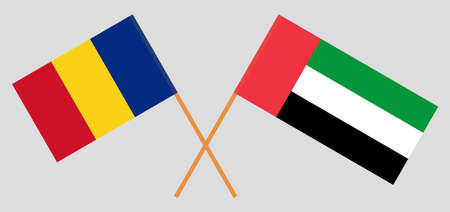 Crossed flags of Benin and Romania. Official colors. Correct proportion. Vector illustration