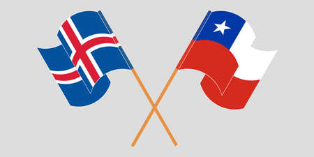 Crossed and waving flags of Chile and Iceland