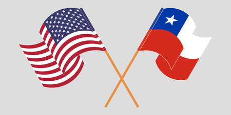 Crossed flags of Chile and the USA