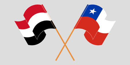 Crossed and waving flags of Chile and Yemen
