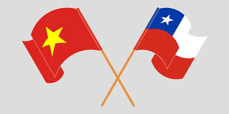Crossed flags of Chile and Vietnam