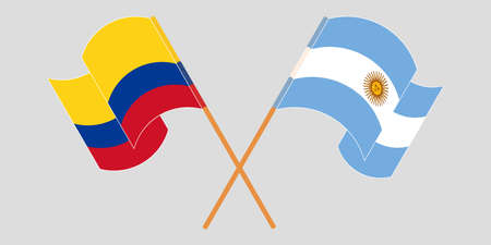 Crossed and waving flags of Colombia and Argentina