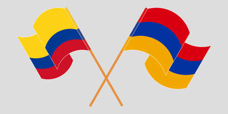Crossed and waving flags of Colombia and Armenia