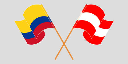 Crossed and waving flags of Colombia and Austria
