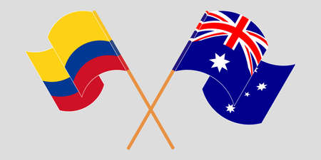 Crossed and waving flags of Colombia and Australia 일러스트