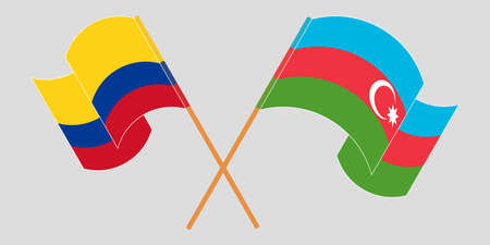 Crossed and waving flags of Colombia and Azerbaijan 일러스트