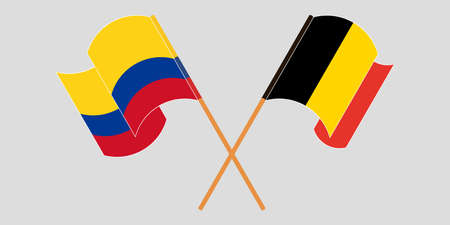 Crossed and waving flags of Colombia and Belgium 일러스트