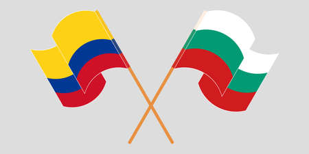 Crossed and waving flags of Colombia and Bulgaria 일러스트