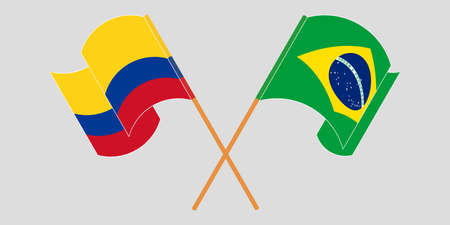 Crossed and waving flags of Colombia and Brazil 일러스트