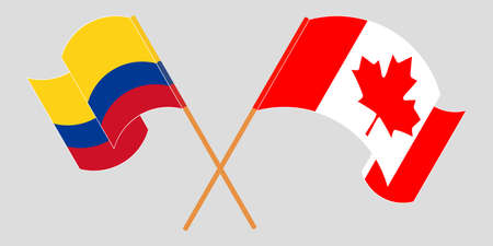 Crossed and waving flags of Colombia and Canada 일러스트