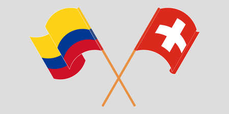 Crossed and waving flags of Colombia and Switzerland 일러스트