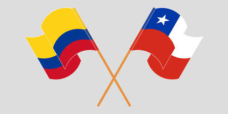 Crossed and waving flags of Colombia and Chile 일러스트