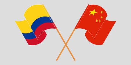 Crossed and waving flags of Colombia and China 일러스트