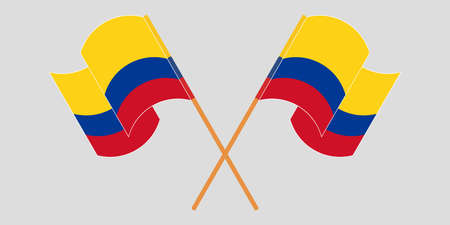 Crossed and waving flags of Colombia