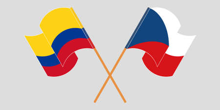 Crossed and waving flags of Colombia and Czech Republic 일러스트
