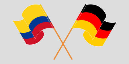 Crossed and waving flags of Colombia and Germany