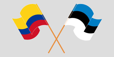 Crossed and waving flags of Colombia and Estonia